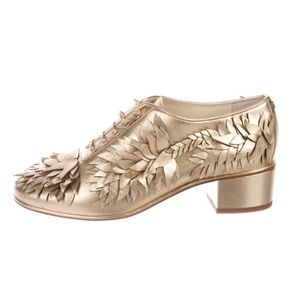NWT CHANEL Gold Metallic Lace-up Oxfords